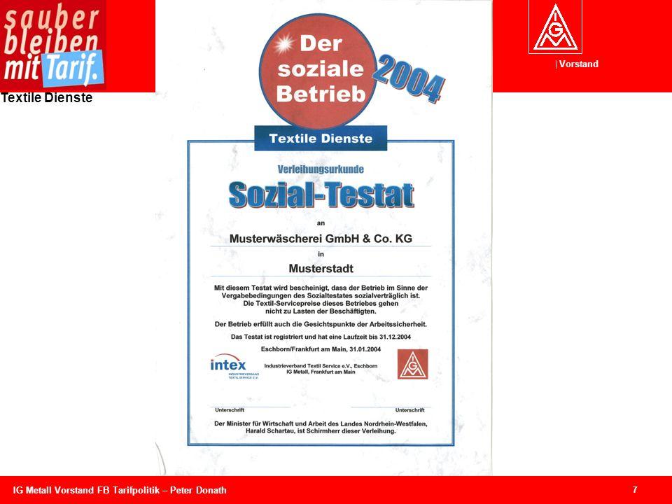 IG Metall Vorstand FB Tarifpolitik – Peter Donath