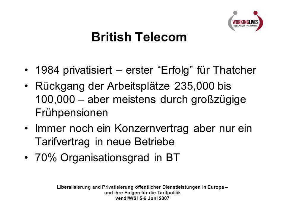 British Telecom 1984 privatisiert – erster Erfolg für Thatcher