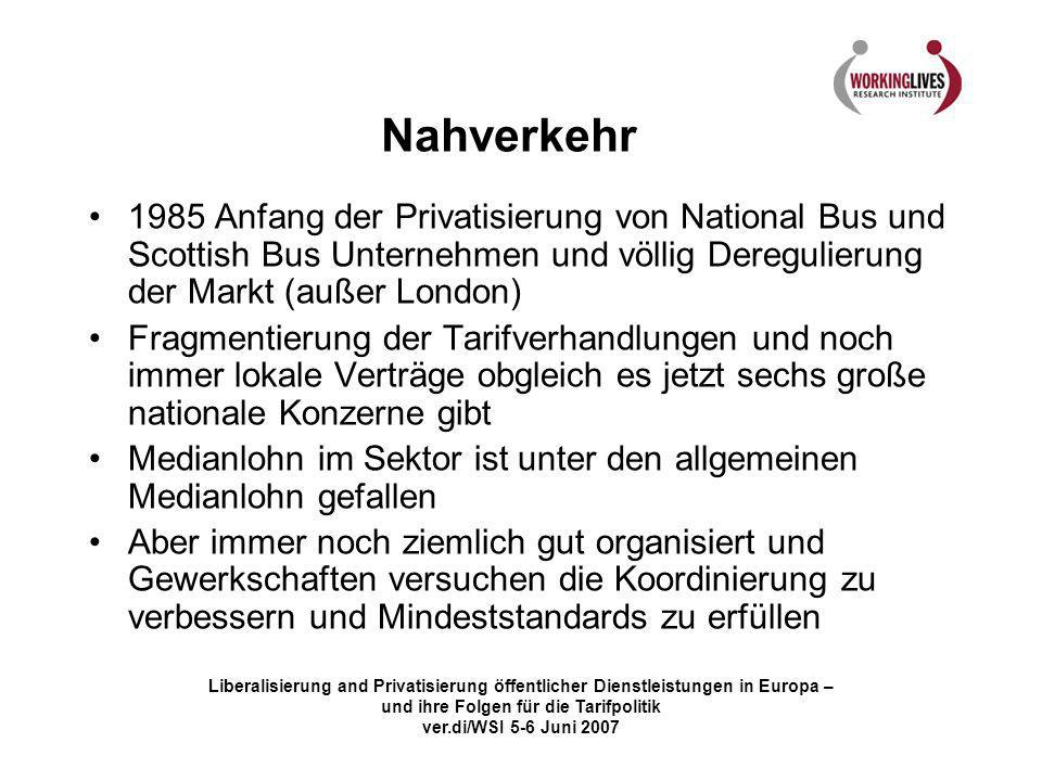 Nahverkehr 1985 Anfang der Privatisierung von National Bus und Scottish Bus Unternehmen und völlig Deregulierung der Markt (außer London)