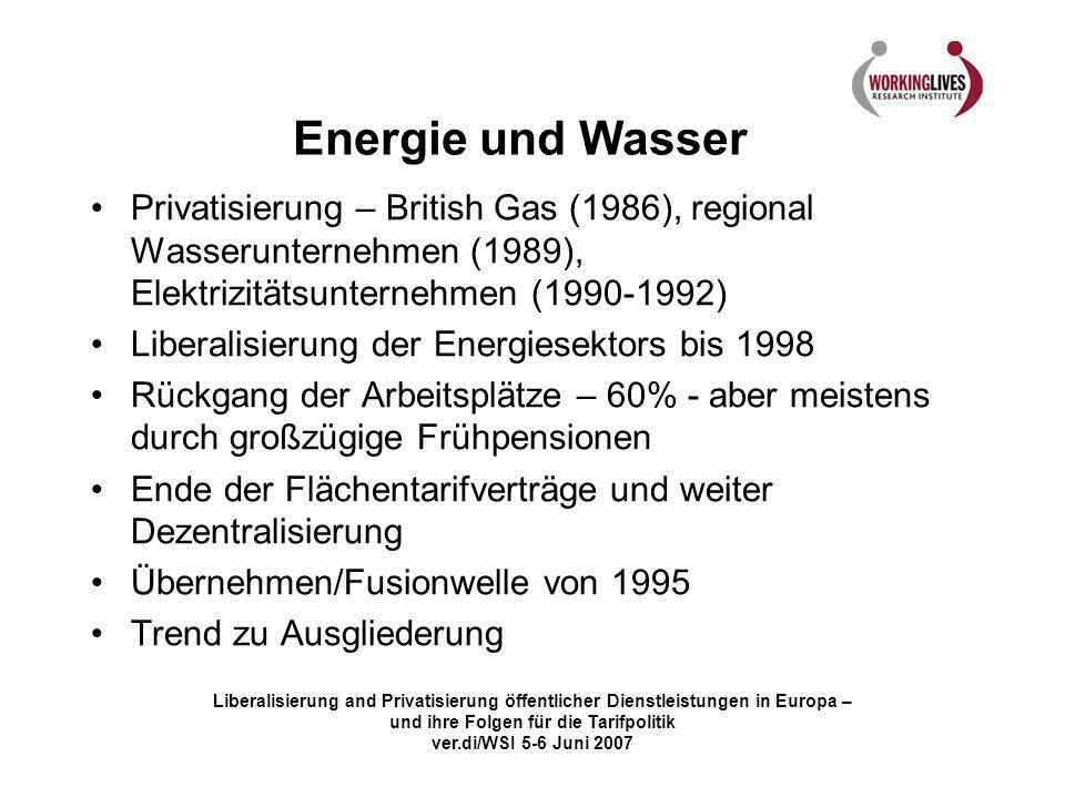 Energie und Wasser Privatisierung – British Gas (1986), regional Wasserunternehmen (1989), Elektrizitätsunternehmen (1990-1992)