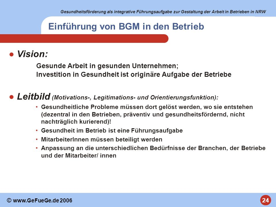 Einführung von BGM in den Betrieb