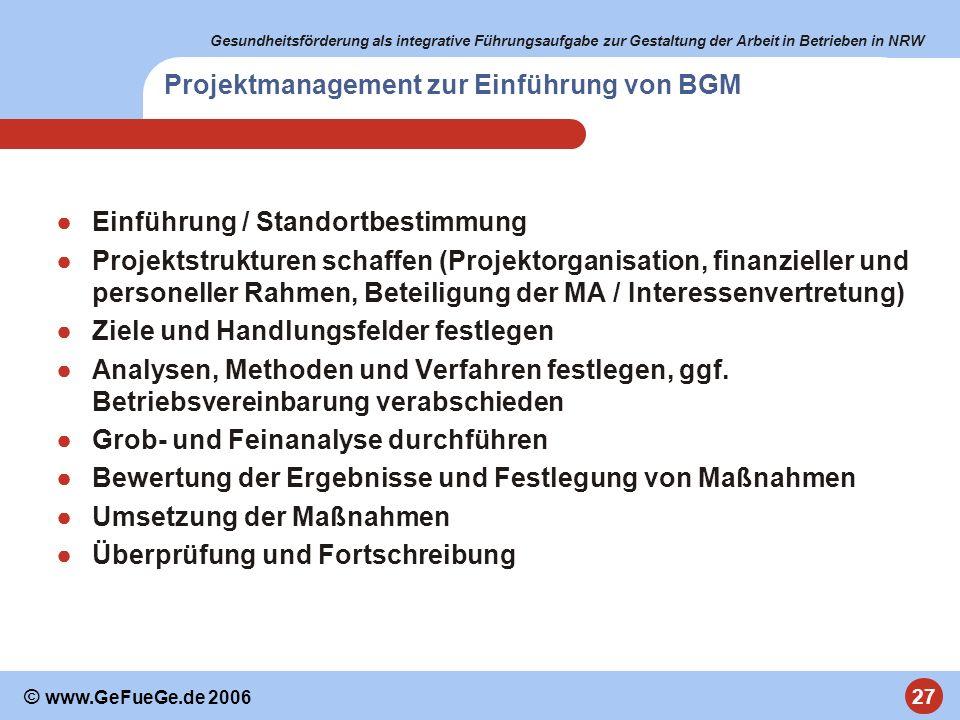 Projektmanagement zur Einführung von BGM