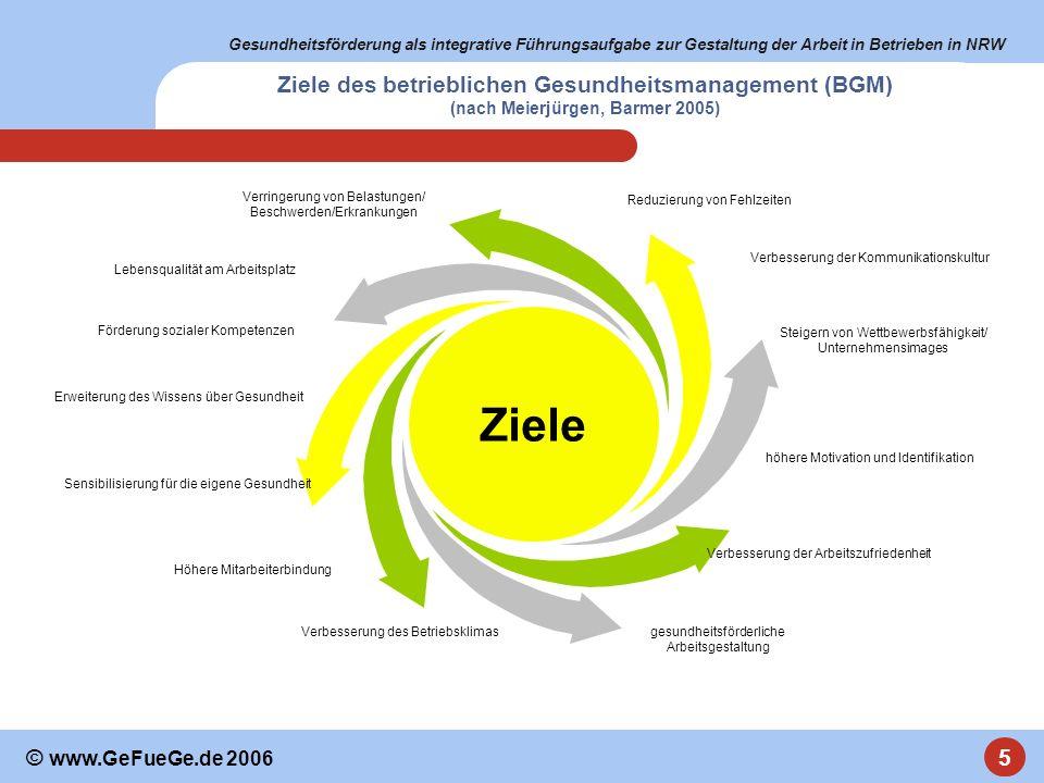 Ziele des betrieblichen Gesundheitsmanagement (BGM) (nach Meierjürgen, Barmer 2005)