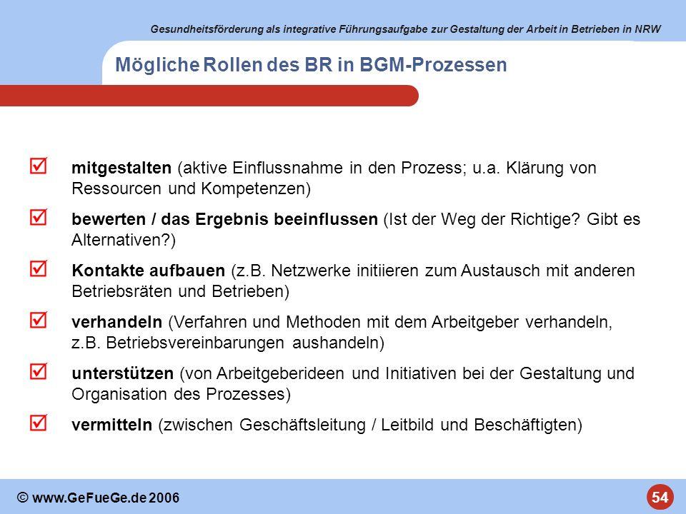 Mögliche Rollen des BR in BGM-Prozessen