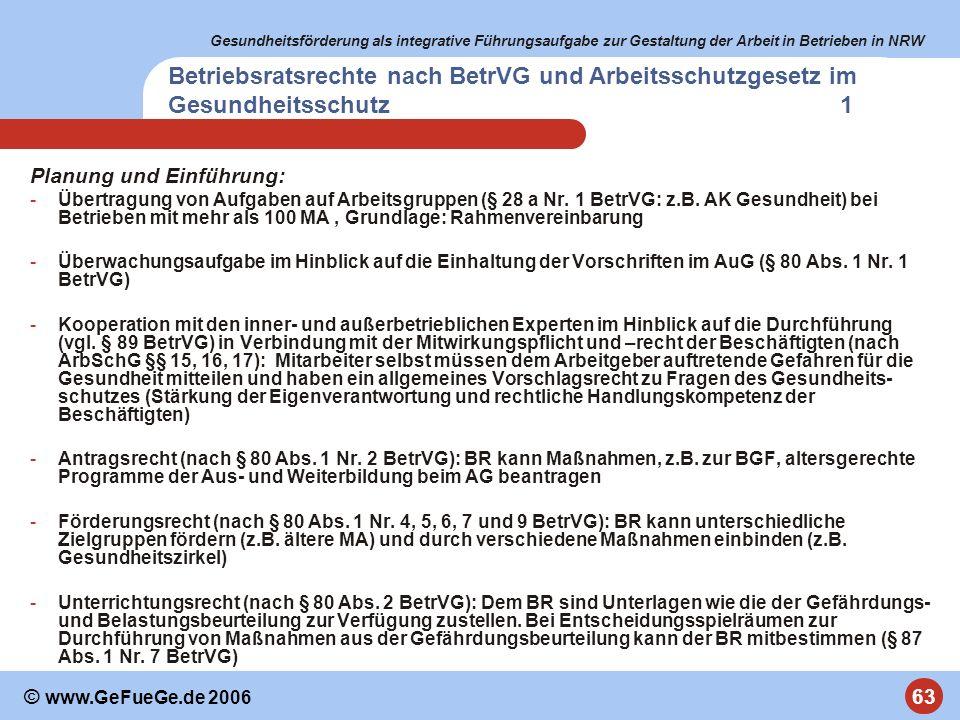 Betriebsratsrechte nach BetrVG und Arbeitsschutzgesetz im Gesundheitsschutz 1