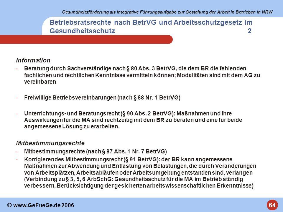 Betriebsratsrechte nach BetrVG und Arbeitsschutzgesetz im Gesundheitsschutz 2