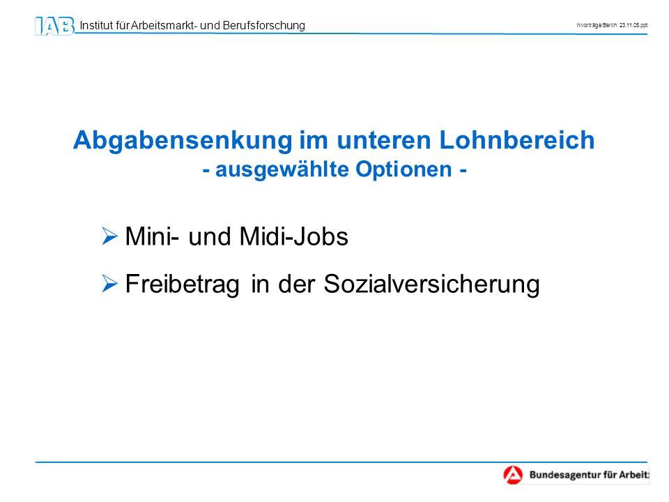 Abgabensenkung im unteren Lohnbereich - ausgewählte Optionen -