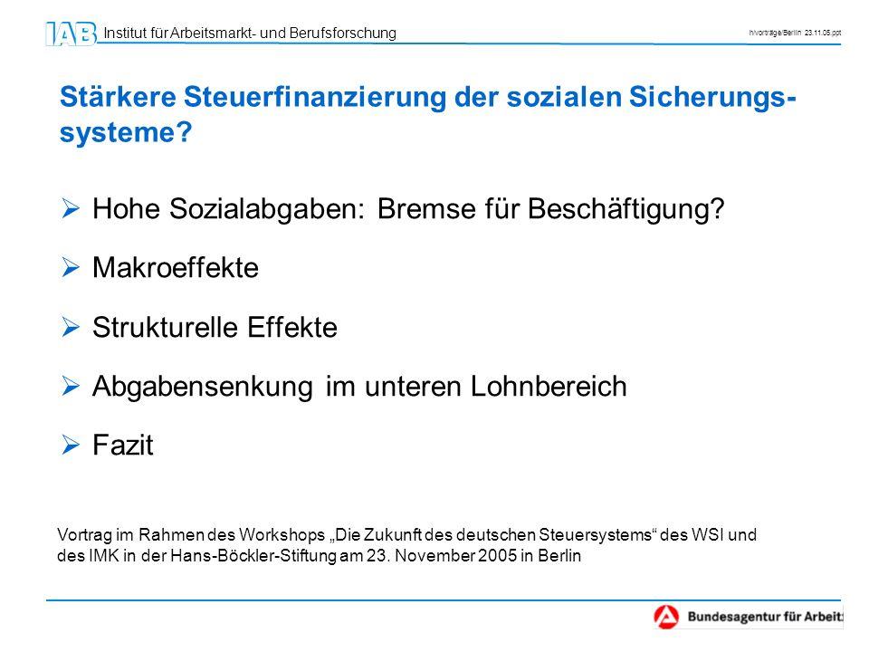 Stärkere Steuerfinanzierung der sozialen Sicherungs-systeme