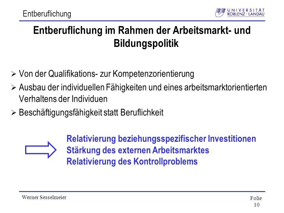 Entberuflichung im Rahmen der Arbeitsmarkt- und Bildungspolitik