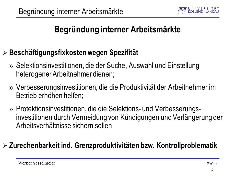 Begründung interner Arbeitsmärkte