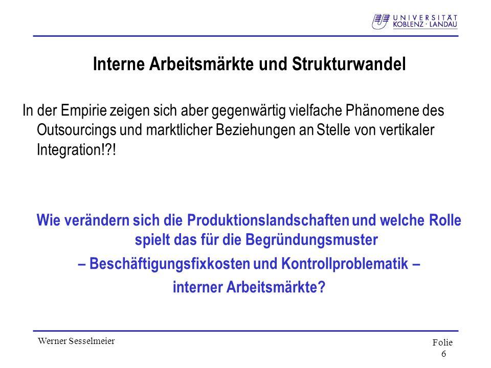 Interne Arbeitsmärkte und Strukturwandel