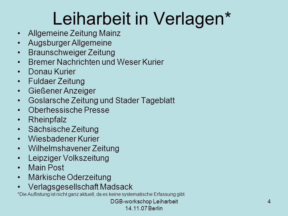 Leiharbeit in Verlagen*