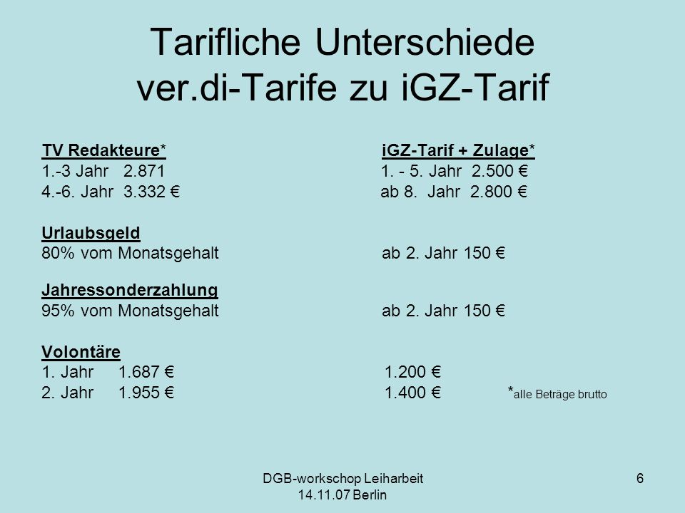 Tarifliche Unterschiede ver.di-Tarife zu iGZ-Tarif