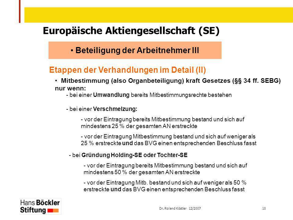 Europäische Aktiengesellschaft (SE) Beteiligung der Arbeitnehmer III