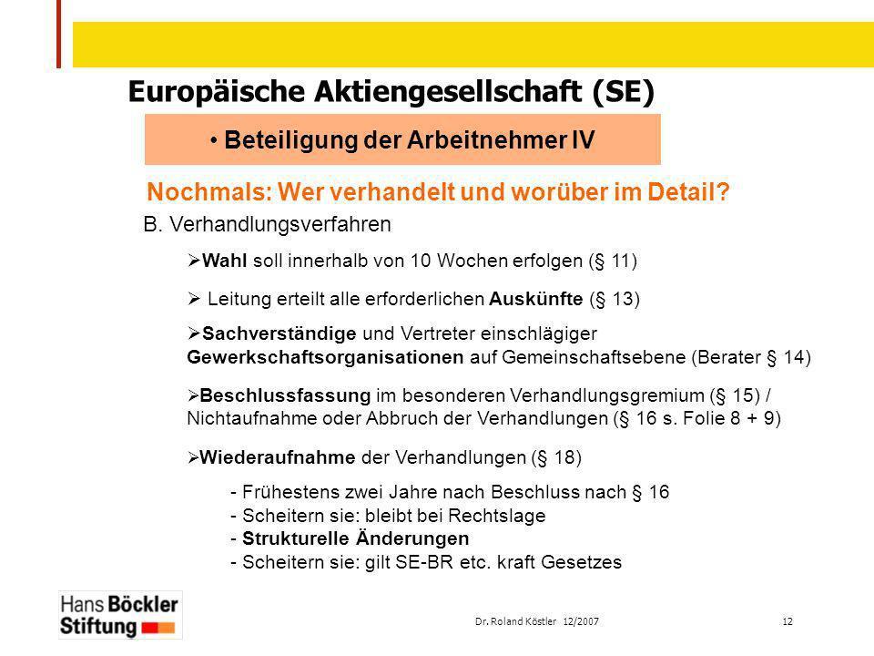 Europäische Aktiengesellschaft (SE) Beteiligung der Arbeitnehmer IV