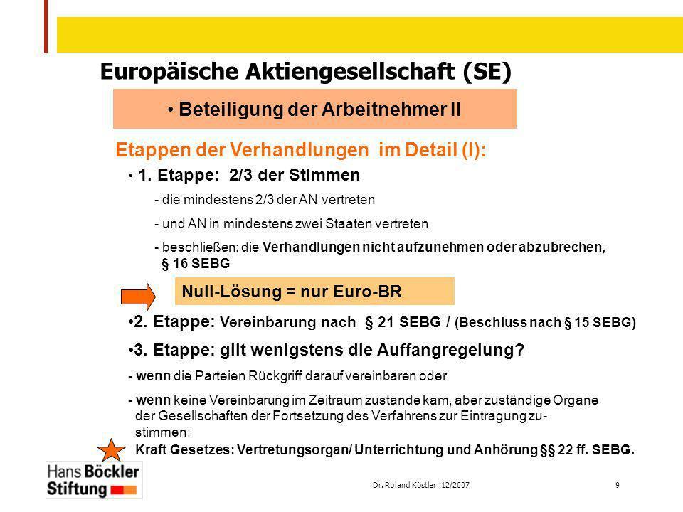 Europäische Aktiengesellschaft (SE) Beteiligung der Arbeitnehmer II