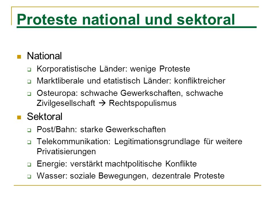 Proteste national und sektoral