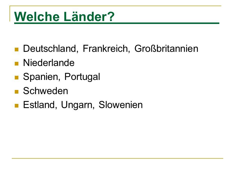 Welche Länder Deutschland, Frankreich, Großbritannien Niederlande