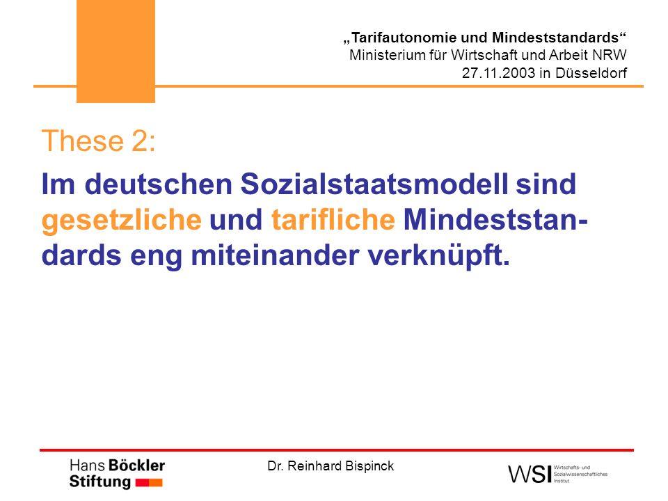 These 2: Im deutschen Sozialstaatsmodell sind gesetzliche und tarifliche Mindeststan-dards eng miteinander verknüpft.