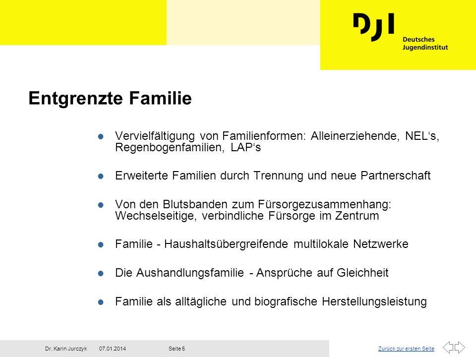 Entgrenzte Familie Vervielfältigung von Familienformen: Alleinerziehende, NEL's, Regenbogenfamilien, LAP's.