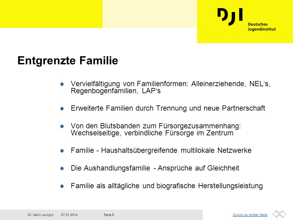 Entgrenzte FamilieVervielfältigung von Familienformen: Alleinerziehende, NEL's, Regenbogenfamilien, LAP's.