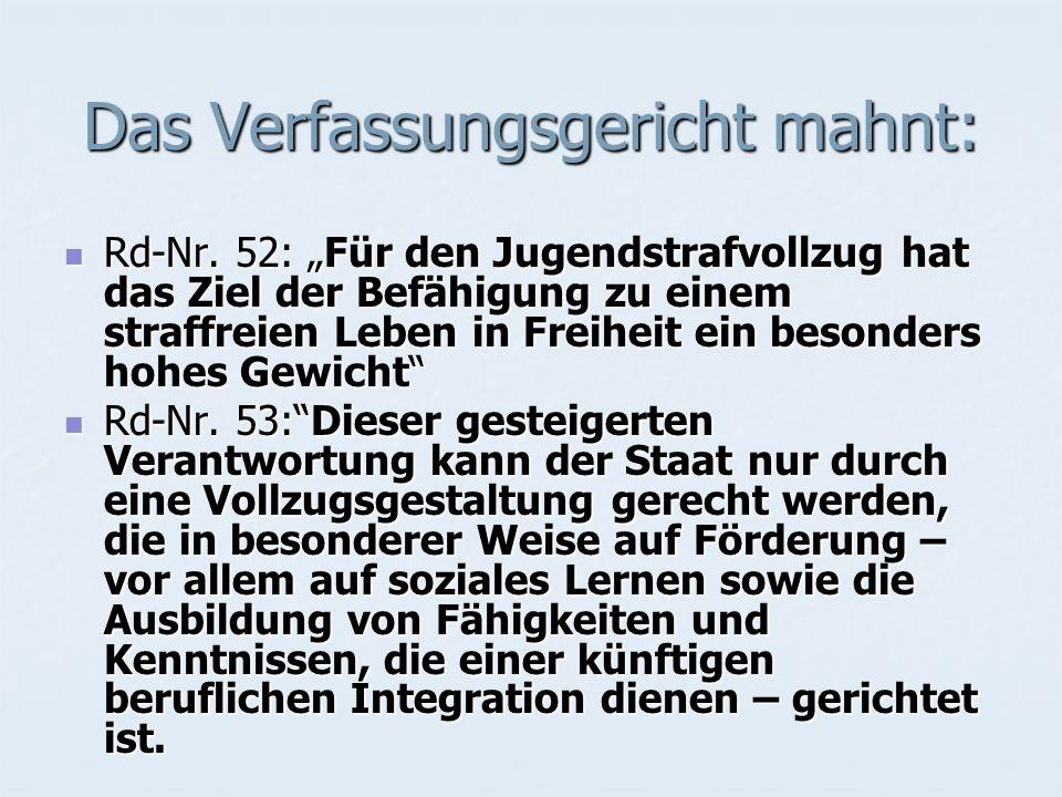 Das Verfassungsgericht mahnt: