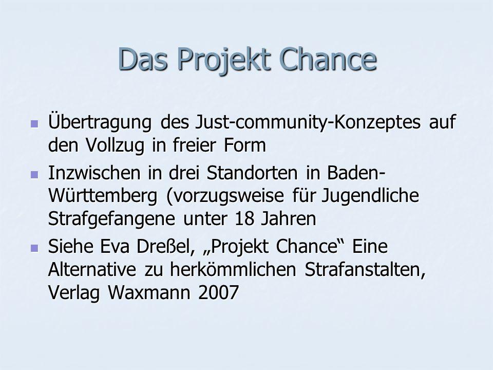 Das Projekt ChanceÜbertragung des Just-community-Konzeptes auf den Vollzug in freier Form.