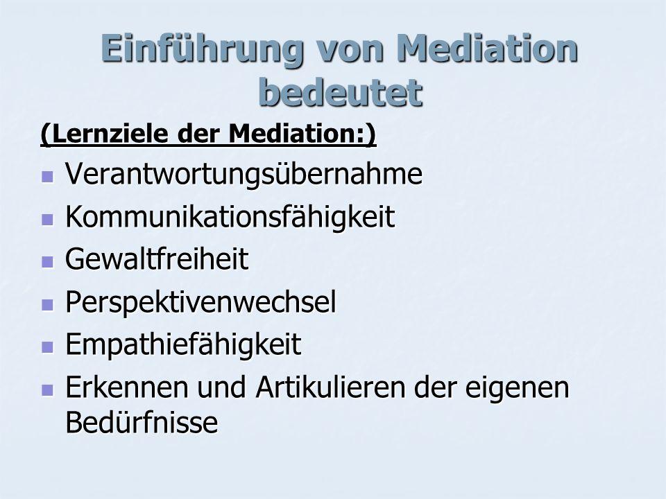Einführung von Mediation bedeutet