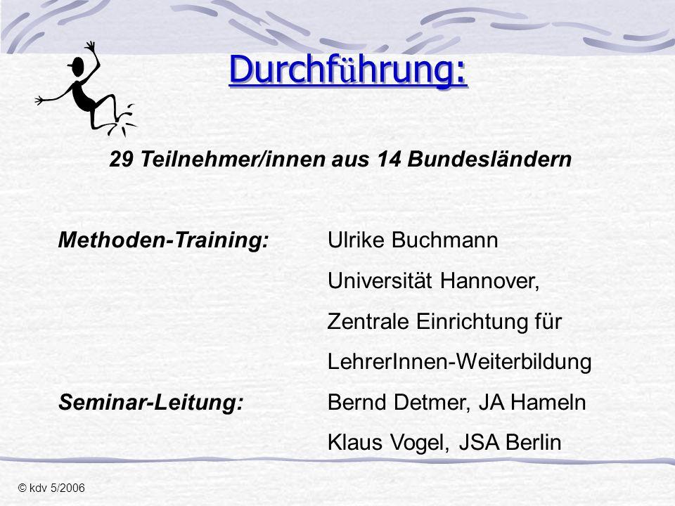 29 Teilnehmer/innen aus 14 Bundesländern