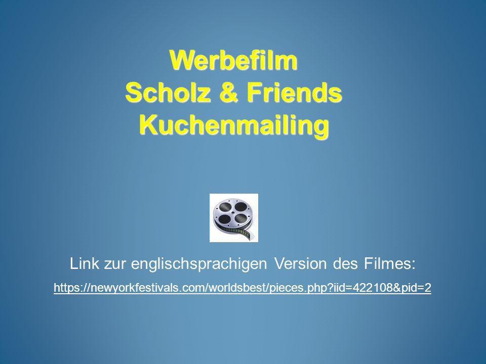 Werbefilm Scholz & Friends Kuchenmailing