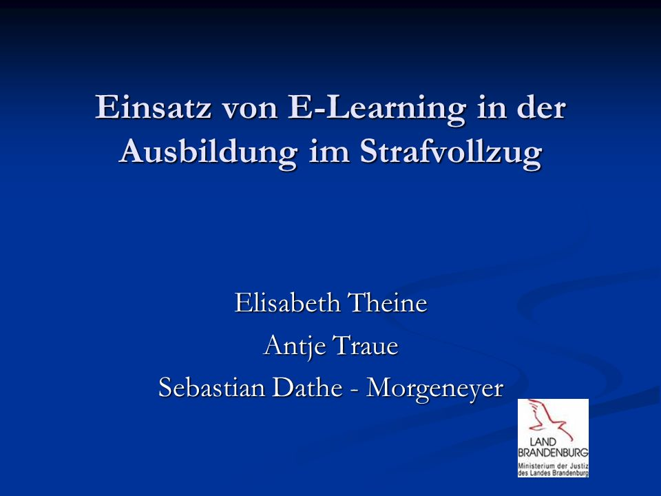 Einsatz von E-Learning in der Ausbildung im Strafvollzug