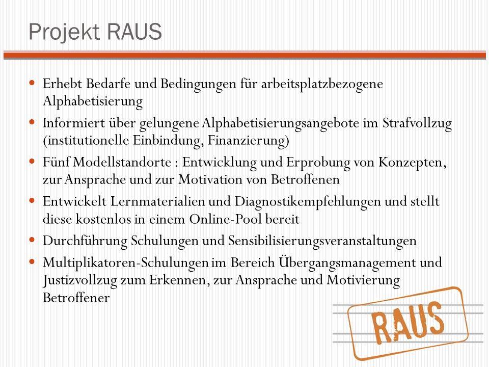 Projekt RAUS Erhebt Bedarfe und Bedingungen für arbeitsplatzbezogene Alphabetisierung.