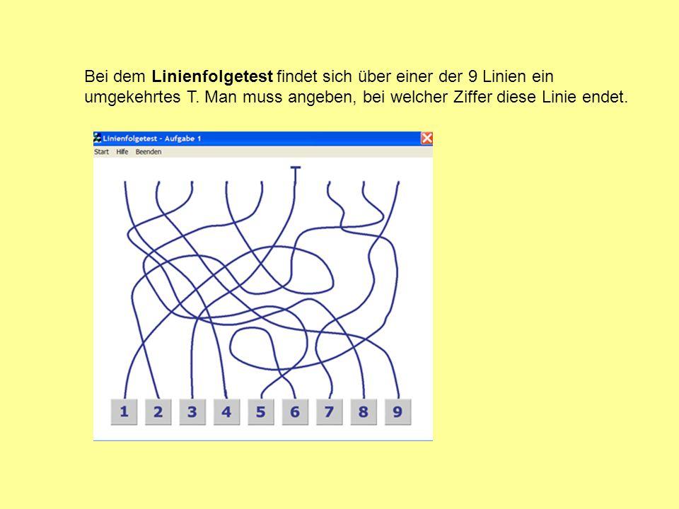 Bei dem Linienfolgetest findet sich über einer der 9 Linien ein