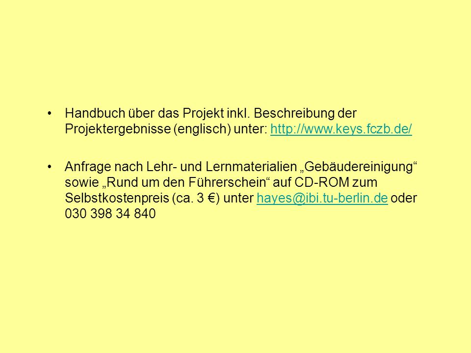 Handbuch über das Projekt inkl