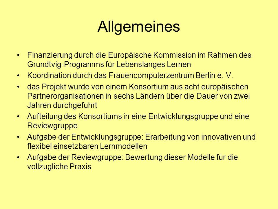 Allgemeines Finanzierung durch die Europäische Kommission im Rahmen des Grundtvig-Programms für Lebenslanges Lernen.