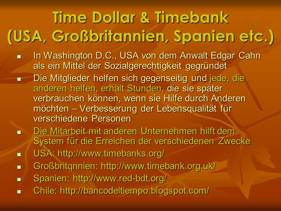 Time Dollar & Timebank (USA, Großbritannien, Spanien etc.)