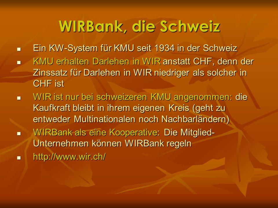 WIRBank, die Schweiz Ein KW-System für KMU seit 1934 in der Schweiz