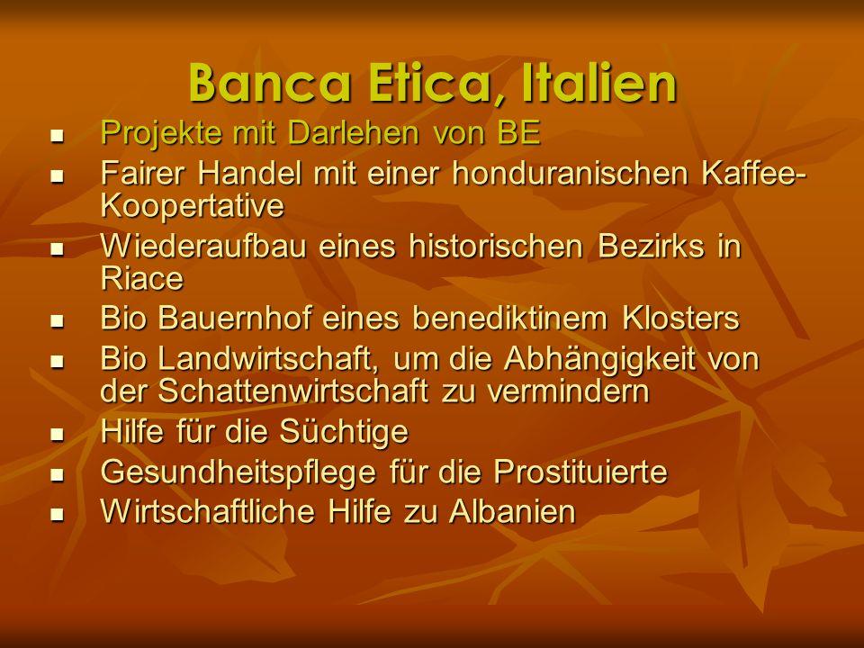 Banca Etica, Italien Projekte mit Darlehen von BE