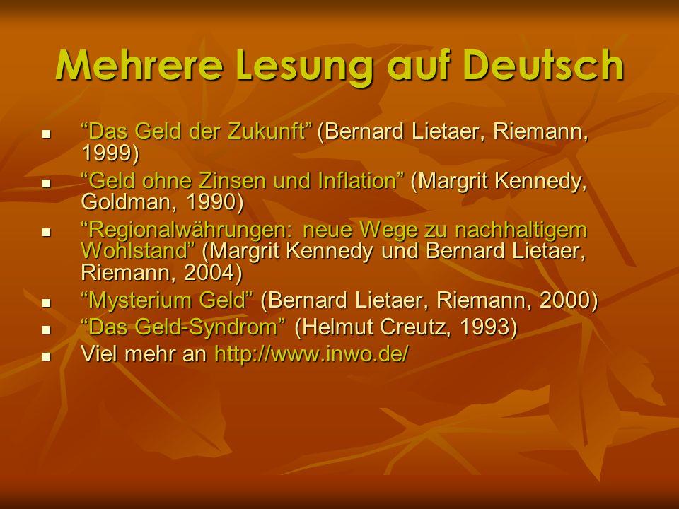 Mehrere Lesung auf Deutsch