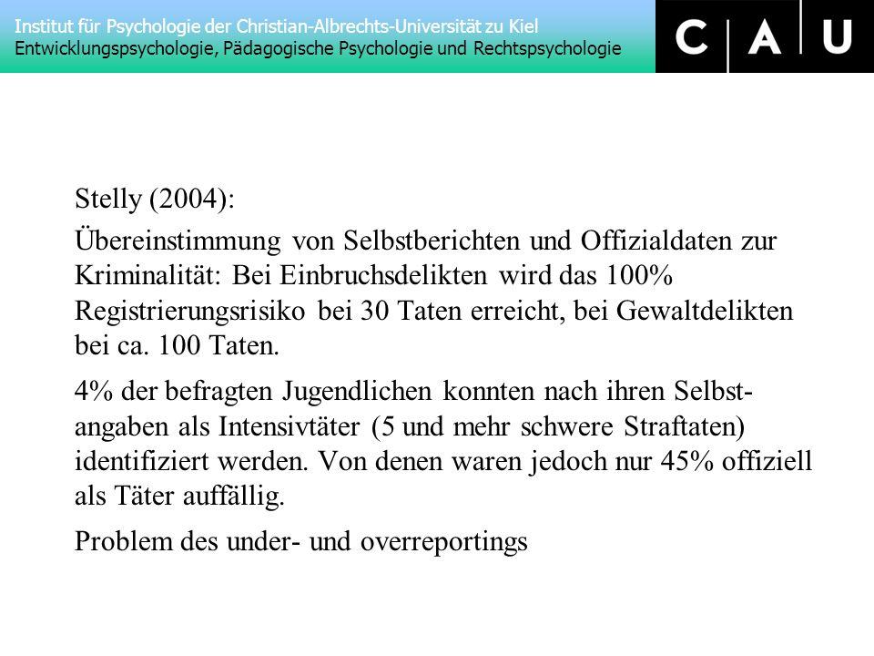 Stelly (2004): Übereinstimmung von Selbstberichten und Offizialdaten zur Kriminalität: Bei Einbruchsdelikten wird das 100% Registrierungsrisiko bei 30 Taten erreicht, bei Gewaltdelikten bei ca.