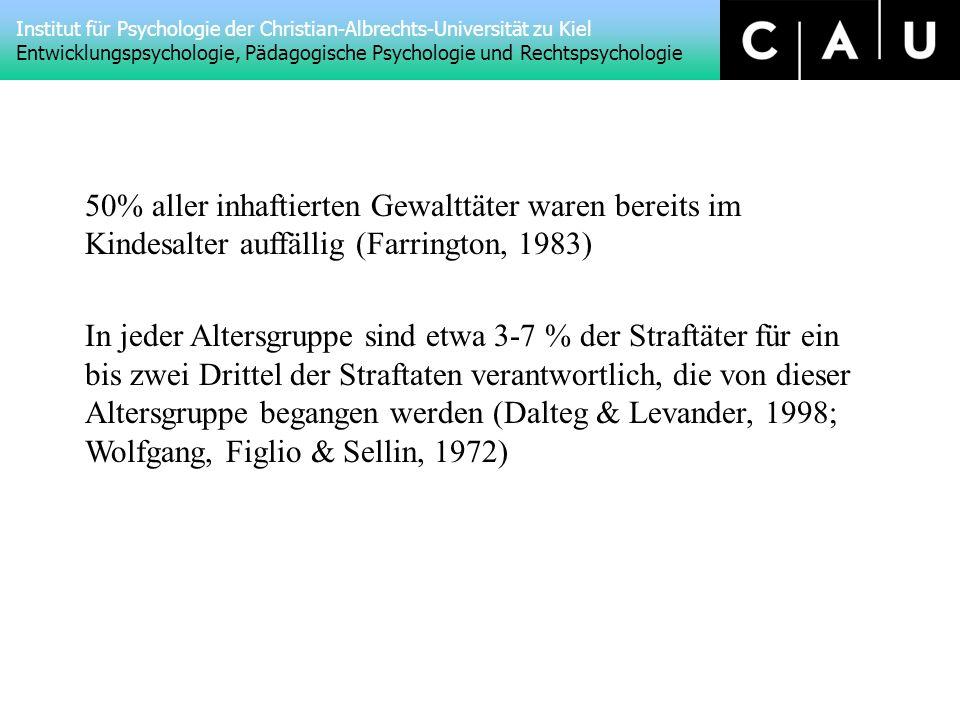 50% aller inhaftierten Gewalttäter waren bereits im Kindesalter auffällig (Farrington, 1983)