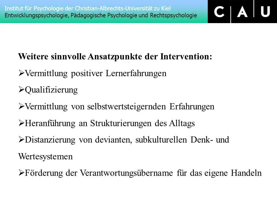 Weitere sinnvolle Ansatzpunkte der Intervention:
