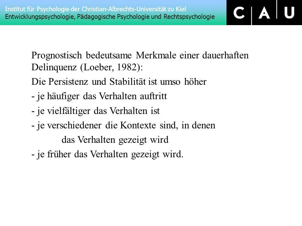 Prognostisch bedeutsame Merkmale einer dauerhaften Delinquenz (Loeber, 1982):