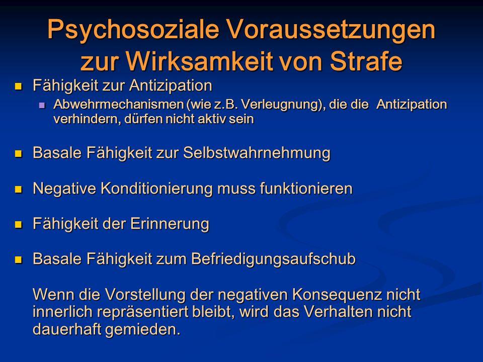 Psychosoziale Voraussetzungen zur Wirksamkeit von Strafe