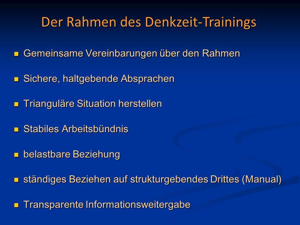 Der Rahmen des Denkzeit-Trainings