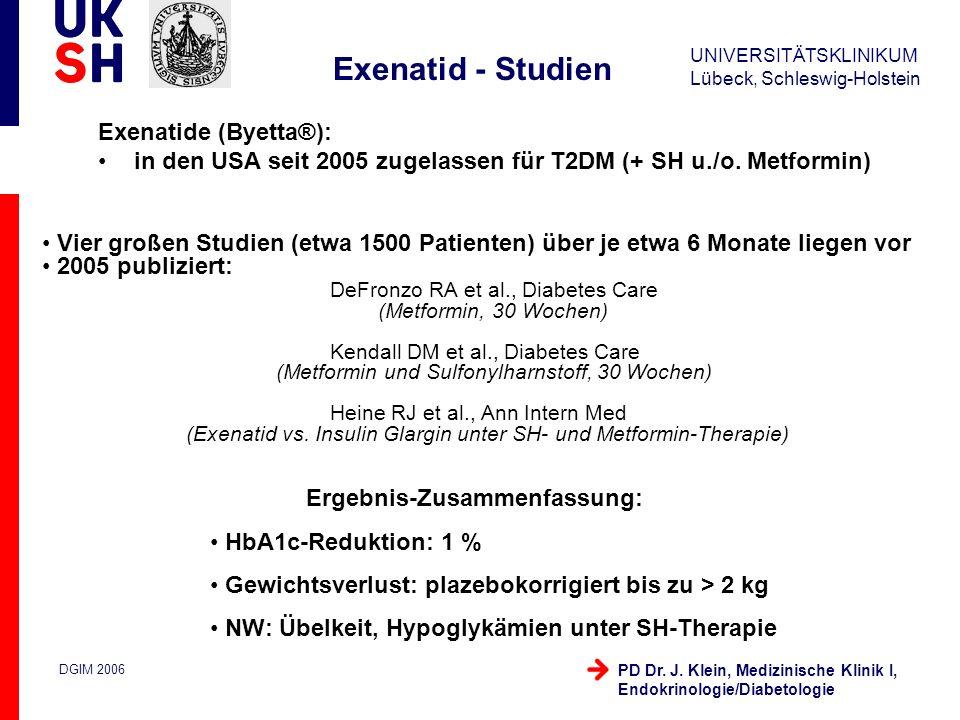 Exenatid - Studien Exenatide (Byetta®):