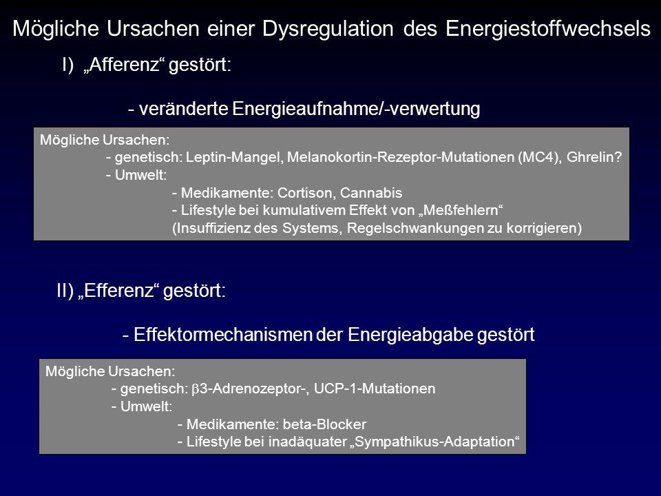 Mögliche Ursachen einer Dysregulation des Energiestoffwechsels