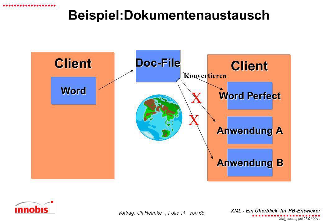 X X Beispiel:Dokumentenaustausch Client Client Doc-File Word
