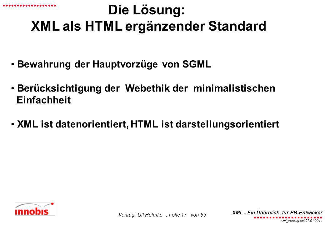 XML als HTML ergänzender Standard