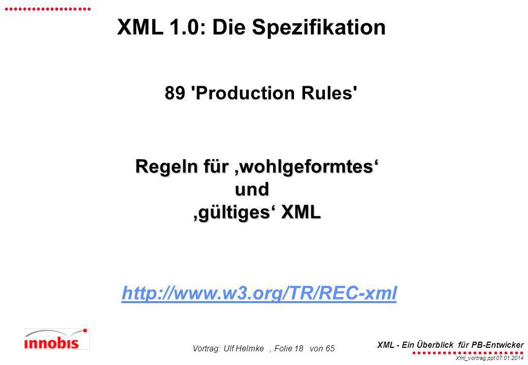 XML 1.0: Die Spezifikation